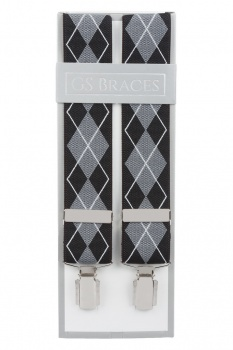 Black and Grey Argyle Diamond Trouser Braces